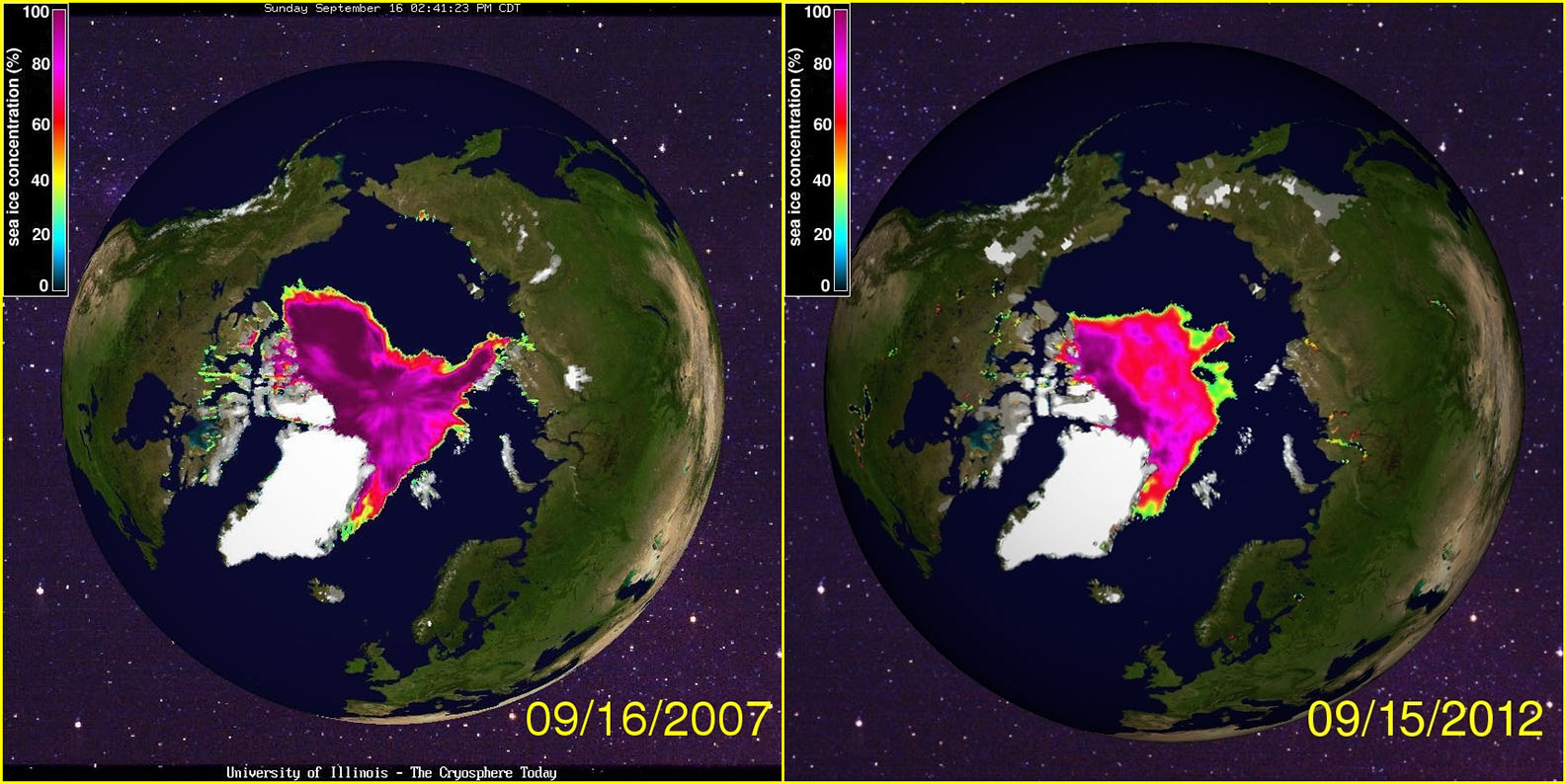 Sea Ice minimum in 2007 and 2012